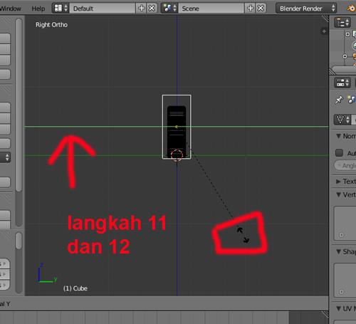 langkah 11 blender 3D membuat teks batik