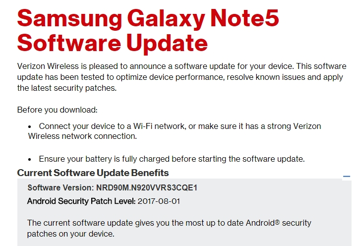 GalaxyNote5Update: Verizon Galaxy Note5 Update