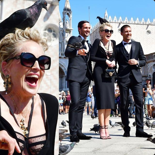Lo shooting della campagna di Sharon Stone per Dolce Gabbana con l'intervento dei piccioni RUNWAY MAGAZINE