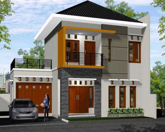 Rumah minimalis 2 lantai atap limasan dengan finishing sederhana