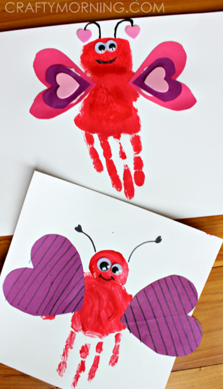 handprint love bug Valentines Day crafts for toddlers