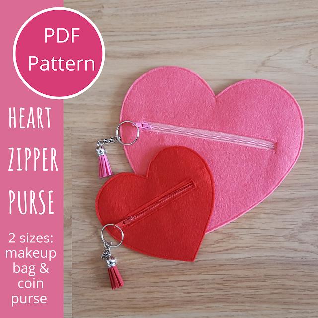 Heart shaped zipper purses