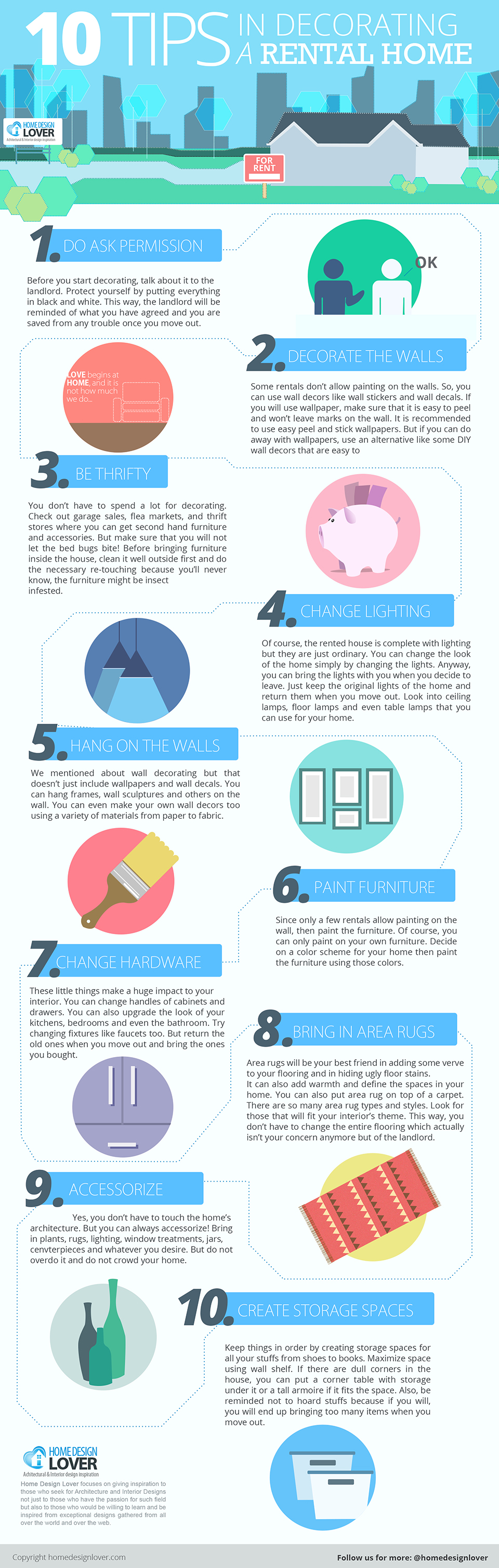 10 Tips in Decorating a Rental Home #infographic