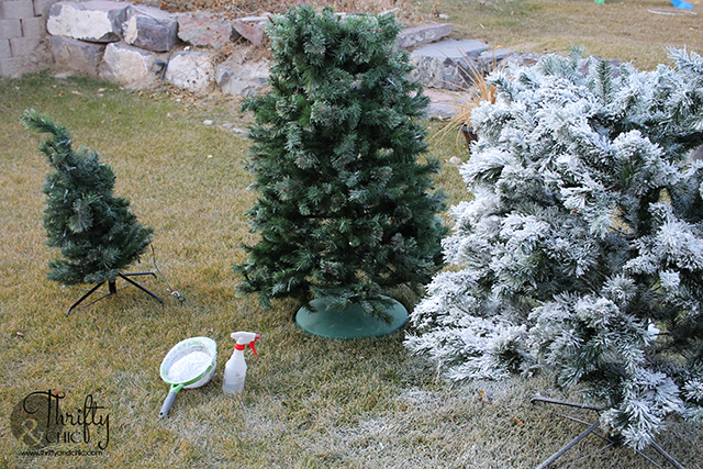 how to flock a christmas tree. DIY flocked Christmas tree. Flocked christmas tree tutorial.