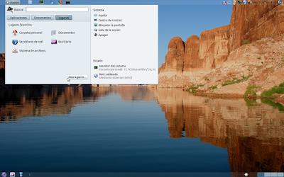 Menú principal de GNOME arriba