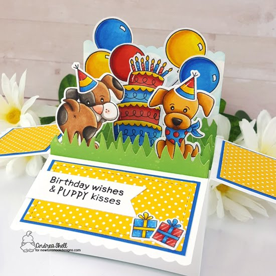 Puppy Playtime Birthday Box Card by Andrea Shell | Puppy Playtime Stamp Set, Fabulous Frenchies Stamp Set, Newton Loves Cake Stamp Set, Land Borders Die Set, Clouds Stencil and Frames & Flags Die Set by Newton's Nook Designs #newtonsnook #handmade