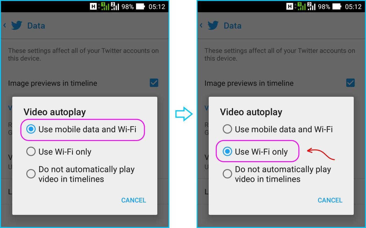 Disable Autoplay Twitter - Pilih Pengaturan Autoplay