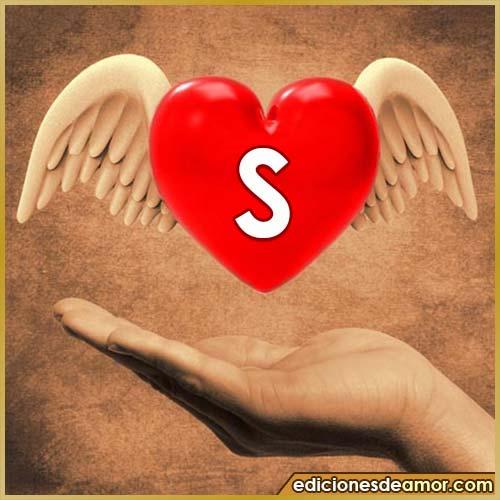 corazón con alas con letra S