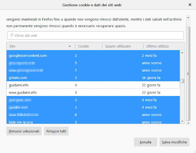 Firefox finestra Gestione dati e cookie dei siti web