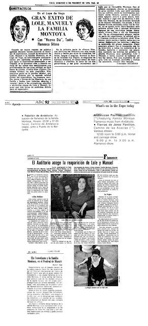 Antonia La Negra, Carmen Montoya, Carmelilla, Juan Montolya, El Morito, Lole y Manuel, Raimundo Amador, Niño Jero