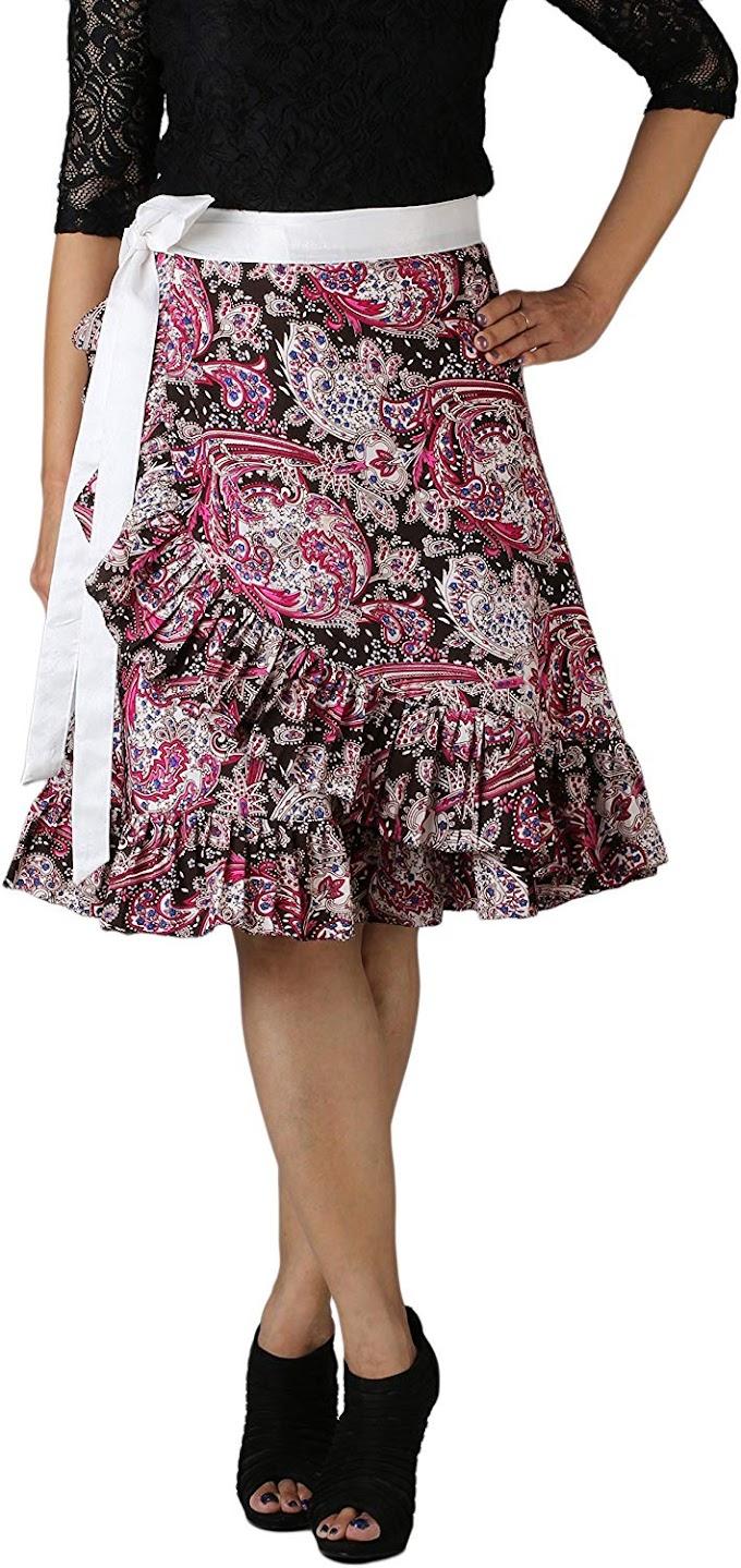 DeeVineeTi Women's Crepe Ruffle Paisley Wrap-Around Skirt (WA000173, Multicolor, Freesize)