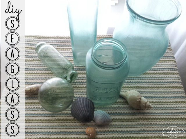 diy sea glass, sea glass jars, vase