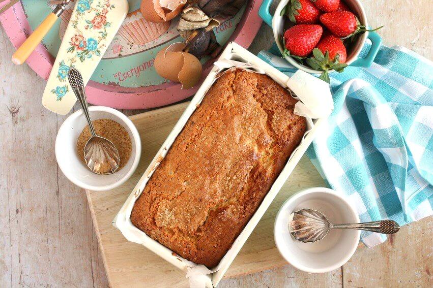baked banana creme fraiche loaf cake