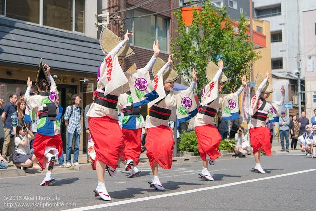 江戸っ子連、女踊り、マロニエ祭り流し踊り中の演舞の写真 その1