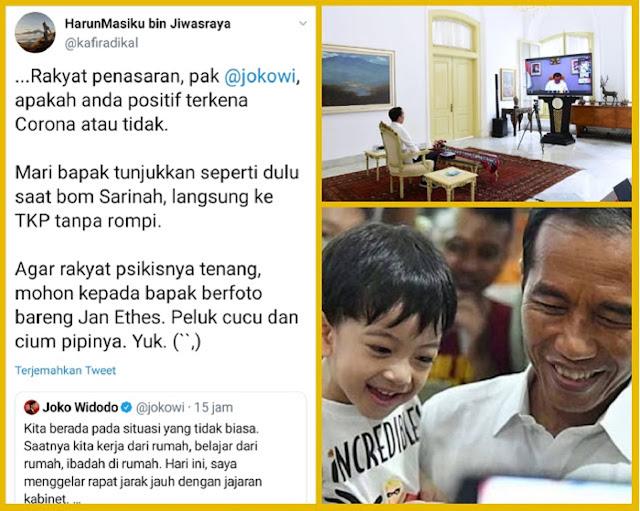 Teka Teki Hasil Tes Corona Jokowi, Warganet Tantang Jokowi Foto Bareng Cucu