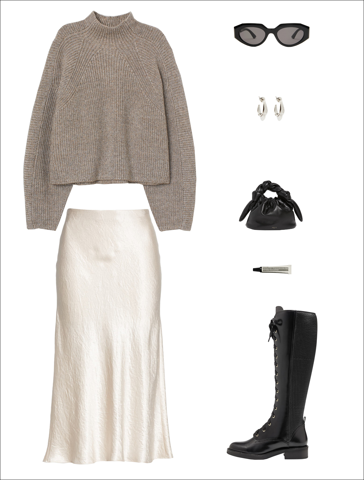 The Cool-Girl Way to Wear a Slip Skirt for Fall and Winter — Under $ 100 chunky sweater, white midi satin skirt, black mini bag, cat-eye sunglasses, and lace-up knee-high combat boots