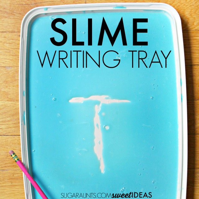 Have you ever wondered how to make slime? This slime recipe is super easy and a great tactile sensory play texture for kids. We used it to work on letter formation and motor control of the pencil with a sensory handwriting writing tray!