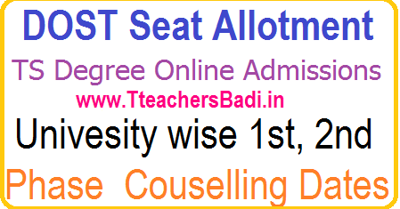 TS Degree 1st year 2nd Phase web options for BA BSc B Com Admission