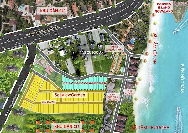 sơ đồ phân lô dự án sea view garden lộc an, thuộc huyện đất đỏ tỉnh Bà Rịa Vũng Tàu