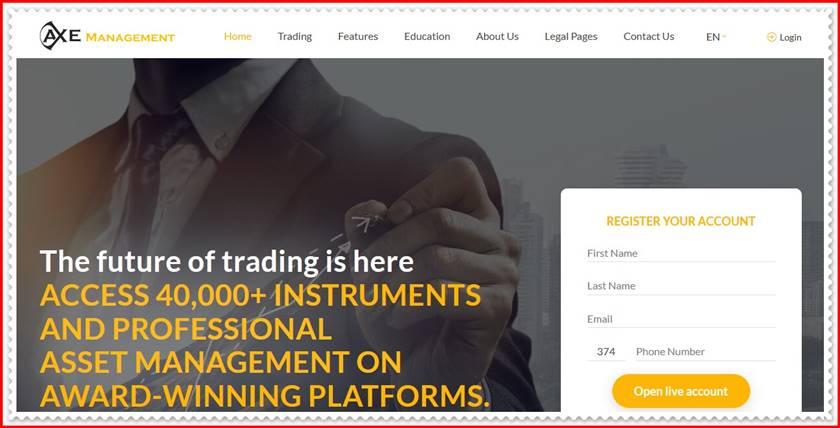 Мошеннический сайт axemanagment.com – Отзывы, развод! Компания Axe Management мошенники
