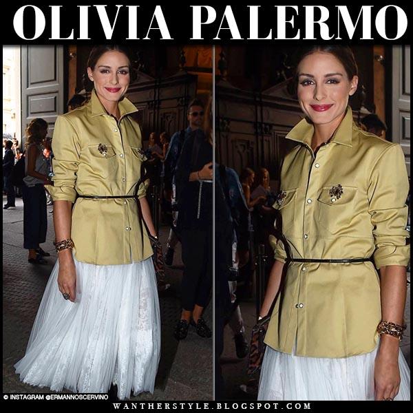 Olivia Palermo in khaki green shirt and white midi skirt ermanno scervino fashion week style 2018
