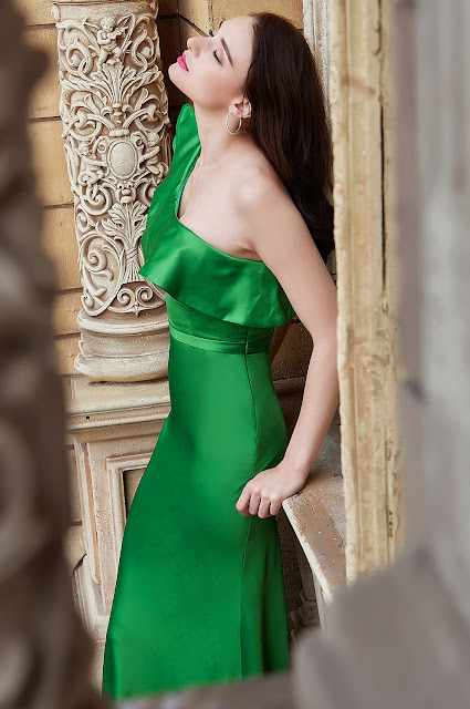 new green ruffled one shoulder prom dress