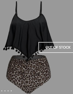 High Waist Overlay Leopard Tankini Swimwear