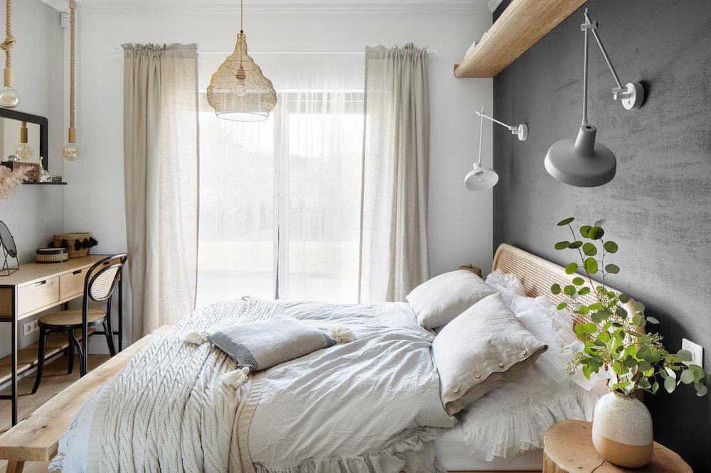 Dormitorio de estilo rústico industrial