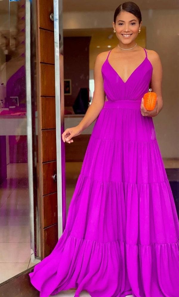 vestido longo uva fucsia para madrinha de casamento