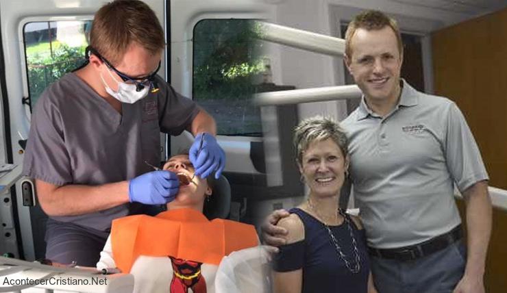 Dentista cristiano cura diente de niño