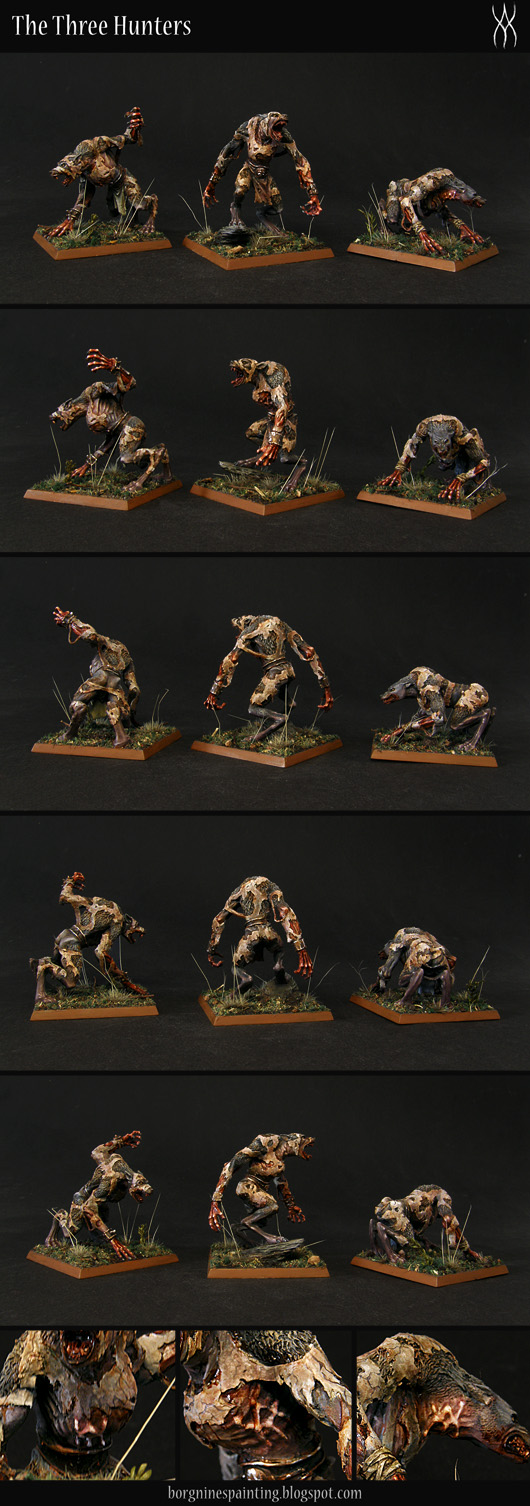 3 painted miniatures, Skin Wolves from Forge World, visible from differen angles and on 50mm square bases.