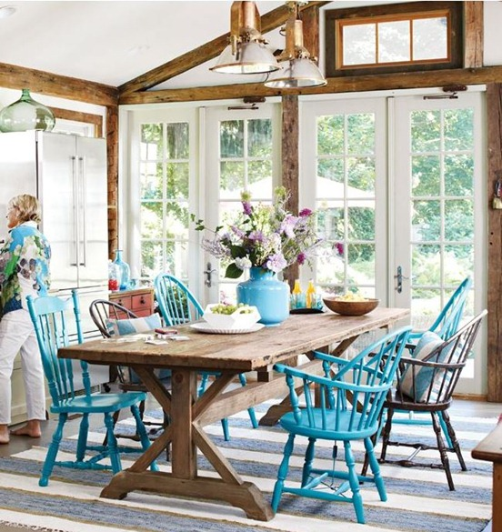Rooms Of Inspiration Rustic Dining Room With Turqouise Chairs
