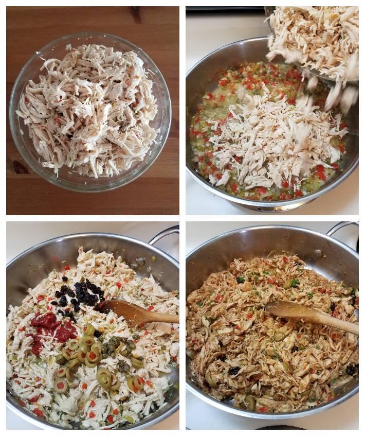 Guiso para la polvorosa de pollo paso a paso, collage de 4 fotos