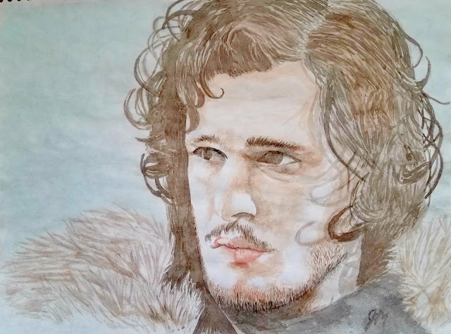Watercolor Painting by Julie Maguda @ happilyeverchapter.blogspot.com - Jon Snow from Game of Thrones
