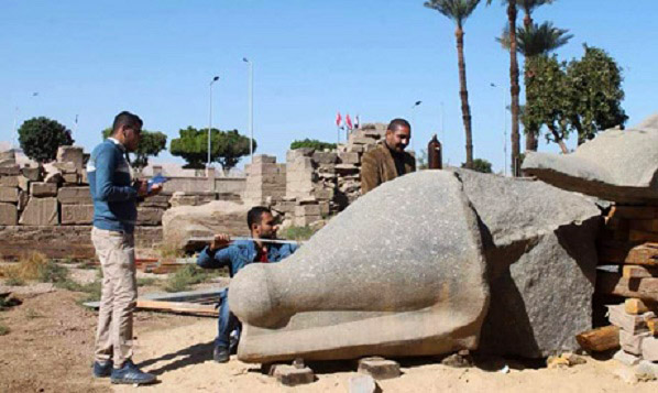 Egypt begins restoration of colossus of Ramses II at Karnak Temples