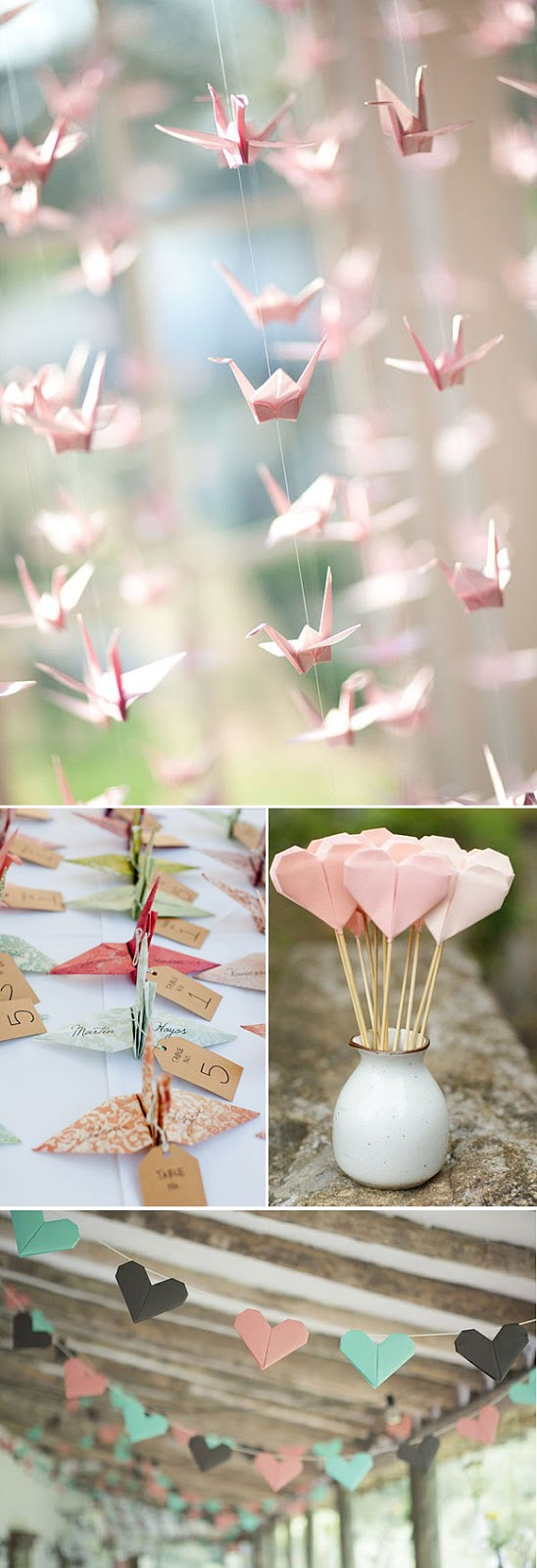 como decorar una boda con origami
