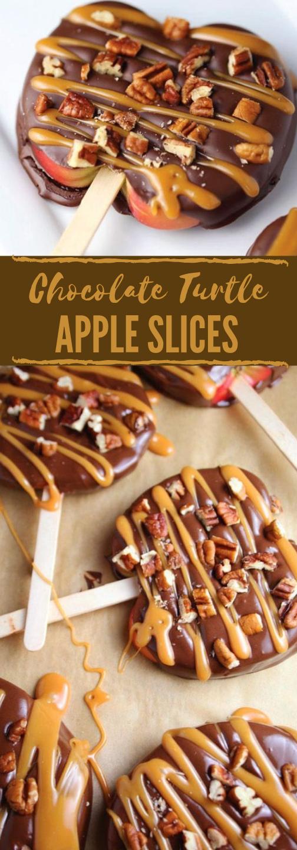 CHOCOLATE TURTLE APPLE SLICES #chocolate #apple #dessert #cookie #bars