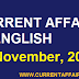 Today Important Current Affairs in English [ 01 November 2019 ] | Today's News Headlines