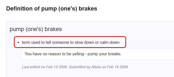 Penjelasan Pump the Brakes
