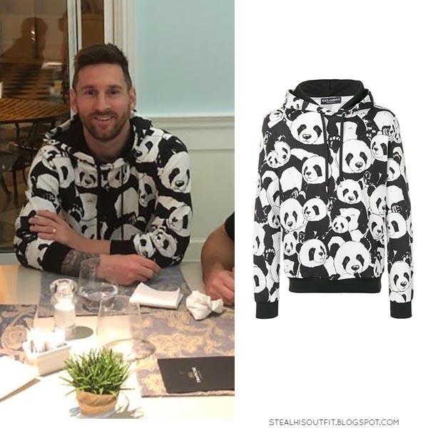 Lionel Messi in panda print hoodie