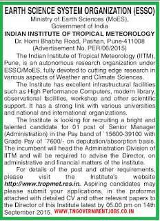 Applications invited for Senior Manager Administration for Indian Institute of Tropical Meteorology Pune