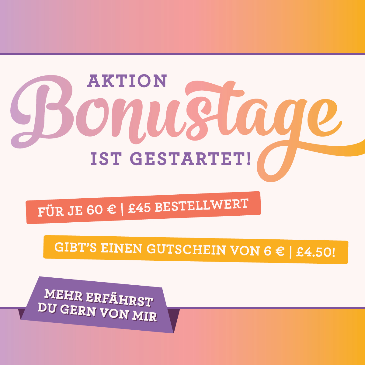 Bonustage im August