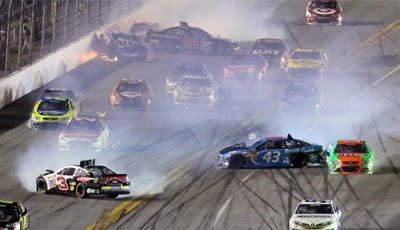 Austin Dillon (3), Kyle Larson (42), Danica Patrick (10), and others including Paul Menard crash