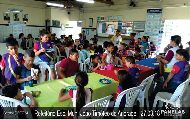 Alunos no Refeitório da Escola Municipal João Timóteo de Andrade
