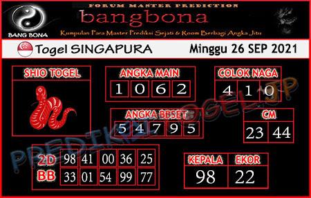 Prediksi Bangbona SGP Minggu 26 September 2021