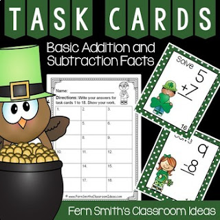 St. Patrick's Day Task Cards Addition and Subtraction