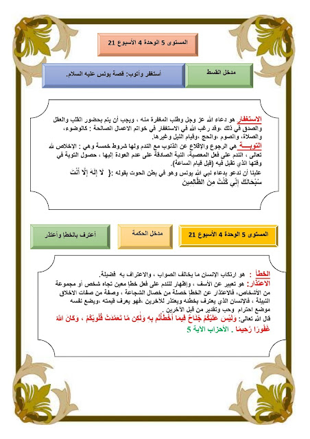 فرض التربية الإسلامية المرحلة الثالثة المستوى 5 الخامس ابتدائي