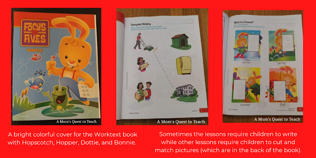 cover of Worktext and two pages from the workbook; text: A bright colorful cover for the Worktext with Hopscotch, Hopper, Dottie, and Bonnie; Sometimes the lessons require children to write while other lessons require children to cut and match pictures (which are in the back of the book)