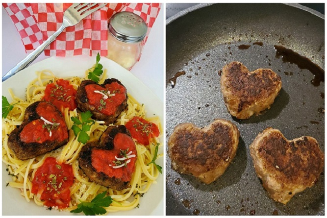 this is heart sharped meatballs over linguine pasta and how to make heart shaped foods