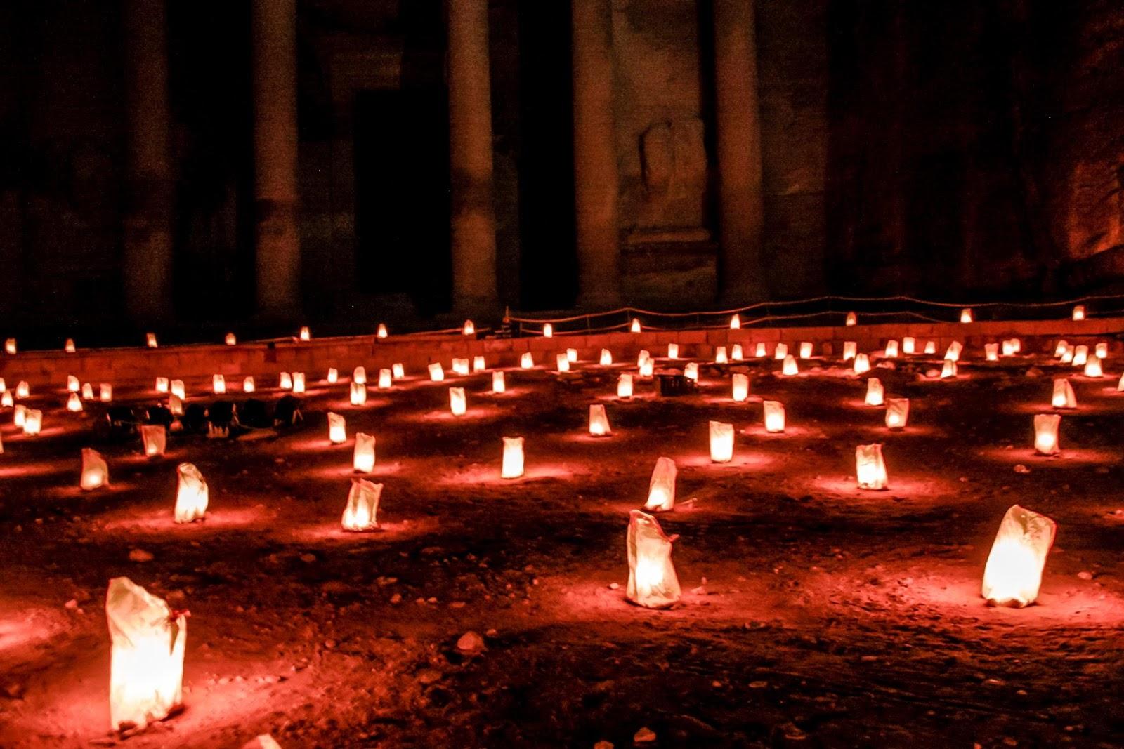 petra by night, widok, gory